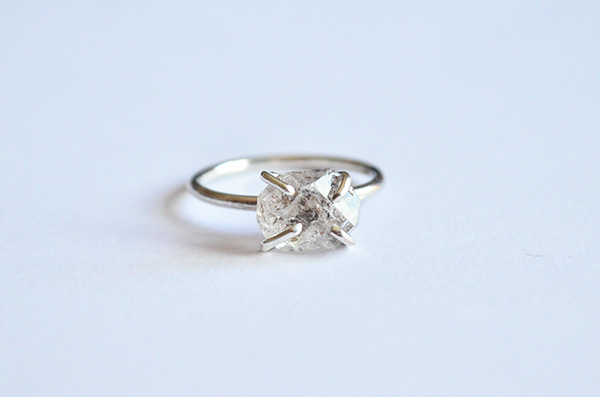 Anello Naked con diamante herkimer  in argento 925