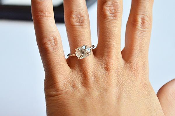 Anello Naked con diamante herkimer herkimer  in argento 925