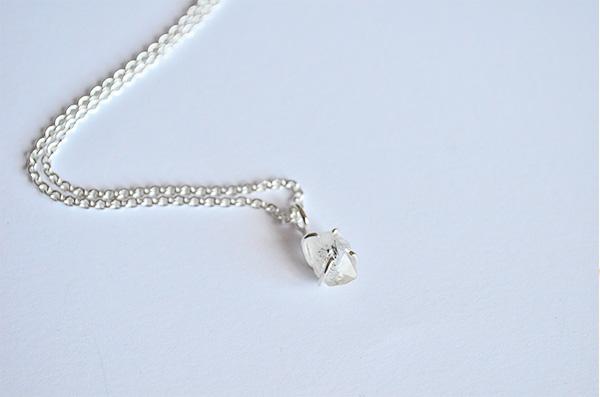 Collana con diamante herkimer in argento 925