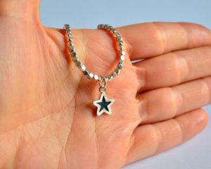 Blackstar bracciale in argento 925 con ciondolo a stella