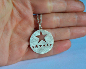 Blackstar ciondolo in argento 925 traforato
